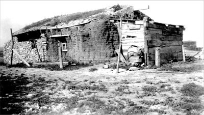 The sod house the Adamski's lived in before buying the Johnson Farm.