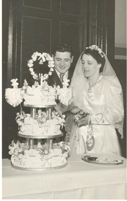 Andrew's parents, Andy and Annie, on their wedding day