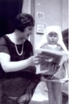 With mother, Lilian