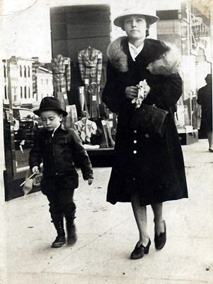 Ray's mother with him downtown. (Died 2002)